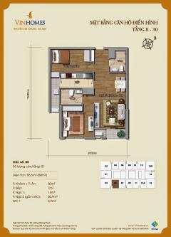 Bán căn hộ 2 phòng ngủ chung cư vinhomes 54 nguyễn chí thanh