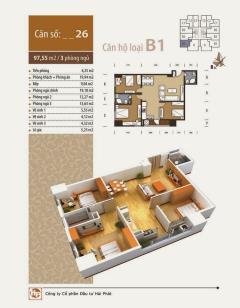 Bán căn hộ 97.5m2, căn góc, 3 pn, cc thepride