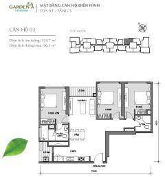 Ch 3 pn,105m2,tòa a3 vinhomes gardenia chỉ 3,7 tỷ