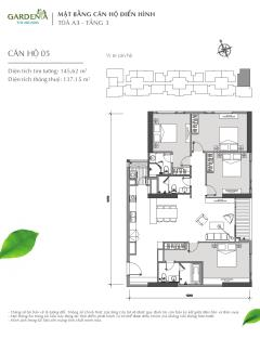 Ch 4 phòng ngủ duy nhất a3 vinhomes gardenia 145,6m2 giá 5,7