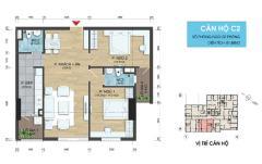 Căn 2 phòng ngủ - 2 lô gia - diện tích 75m2, giá từ 27tr/m2.