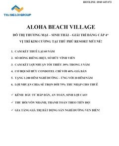 Được gì từ dự án condotel aloha?hãy là nhà đầu tư thông minh