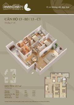 Bán căn hộ 127m2 căn 13 tòa b chung cư mandarin hòa phát