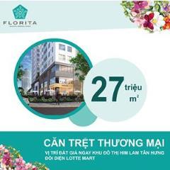 Bán căn hộ tầng trệt 1 trệt 1 lửng dự án florita 36 triệu/m2