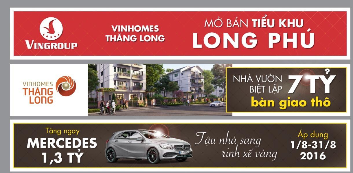 Chính sách bán hàng Vinhomes Thăng Long trong tháng 8/2016