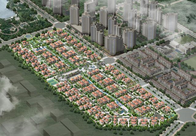 Toàn cảnh khu biệt thự dự án khu đô thị mới Bắc An Khánh