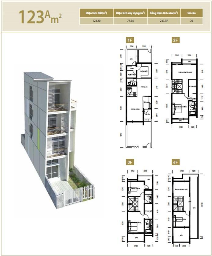 Mặt bằng căn hộ 123A m2 khu đô thị mới Bắc An Khánh