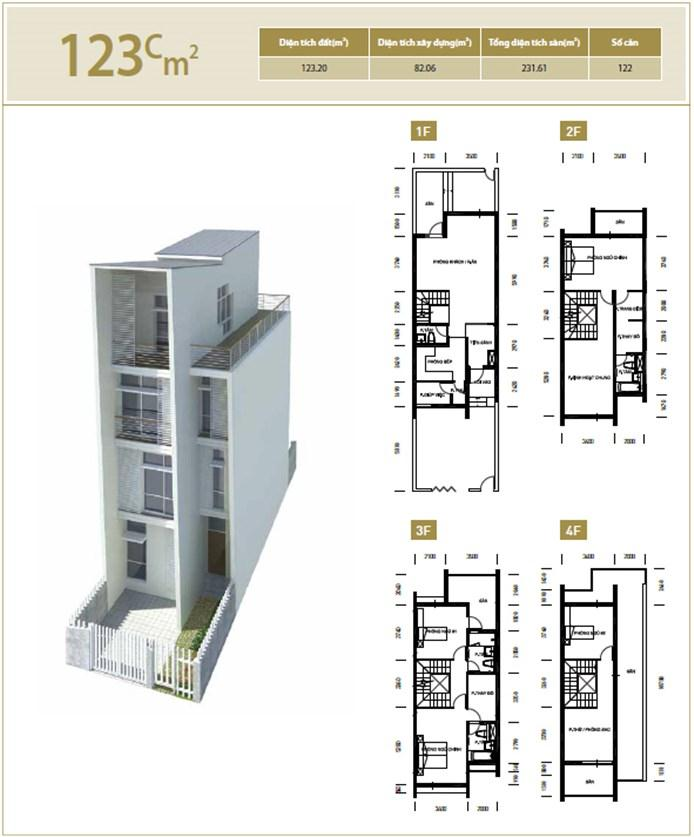 Mặt bằng căn hộ 123C m2 khu đô thị mới Bắc An Khánh