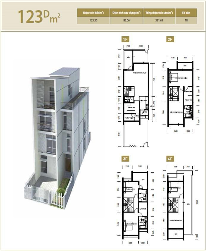 Mặt bằng căn hộ 123D m2 khu đô thị mới Bắc An Khánh