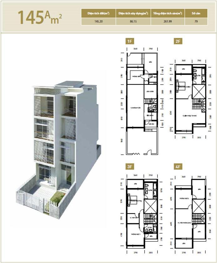 Mặt bằng căn hộ 145A m2 khu đô thị mới Bắc An Khánh