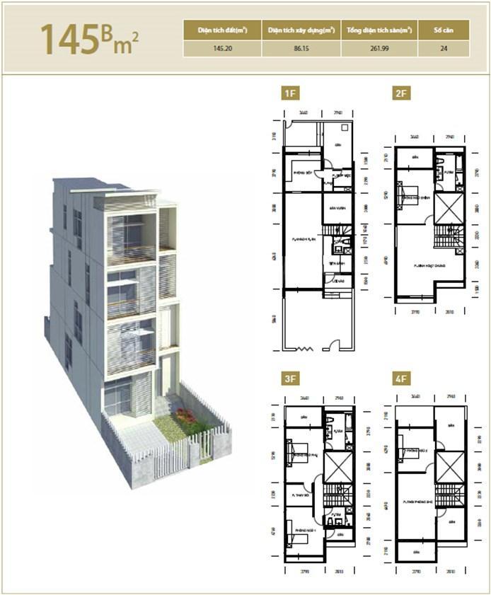 Mặt bằng căn hộ 145B m2 khu đô thị mới Bắc An Khánh
