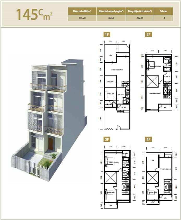 Mặt bằng căn hộ 145C m2 khu đô thị mới Bắc An Khánh
