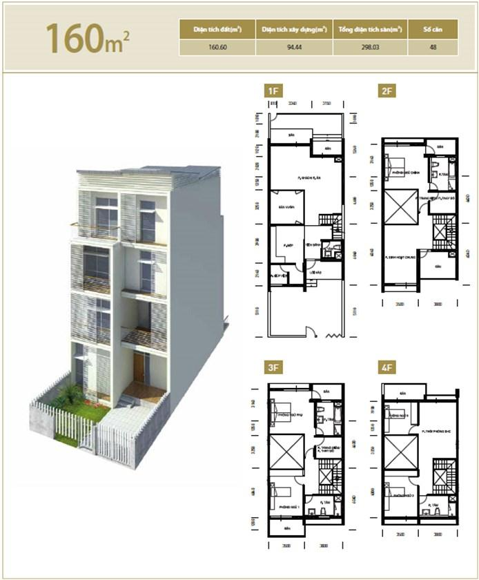 Mặt bằng căn hộ 160 m2 khu đô thị mới Bắc An Khánh