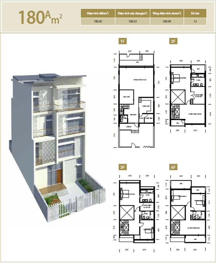 Mặt bằng căn hộ 180A m2 khu đô thị mới Bắc An Khánh