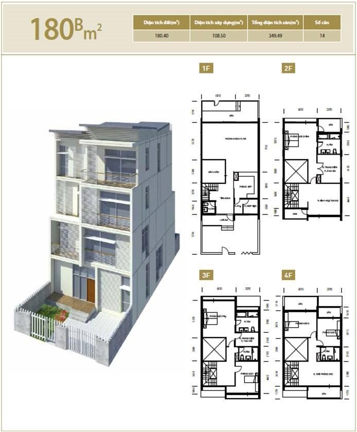 Mặt bằng căn hộ 180B m2 khu đô thị mới Bắc An Khánh