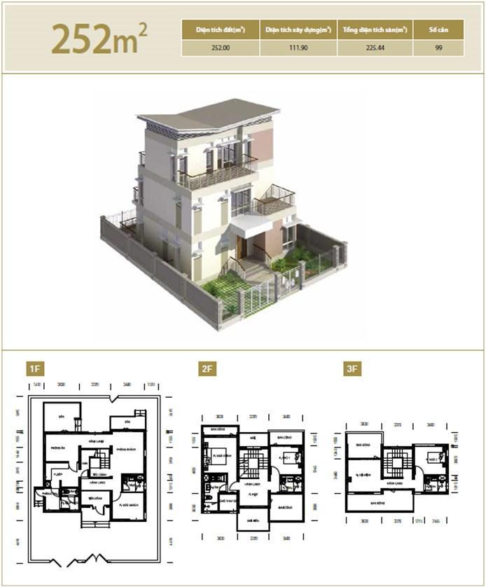 Mặt bằng căn hộ 252 m2 khu đô thị mới Bắc An Khánh