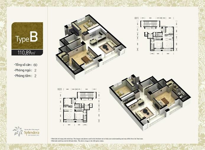 Mặt bằng chung cư căn hộ B khu đô thị mới Bắc An Khánh
