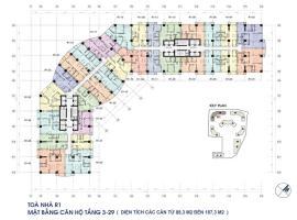 Mặt bằng chi tiết tòa R1 từ tầng 3 đến 29