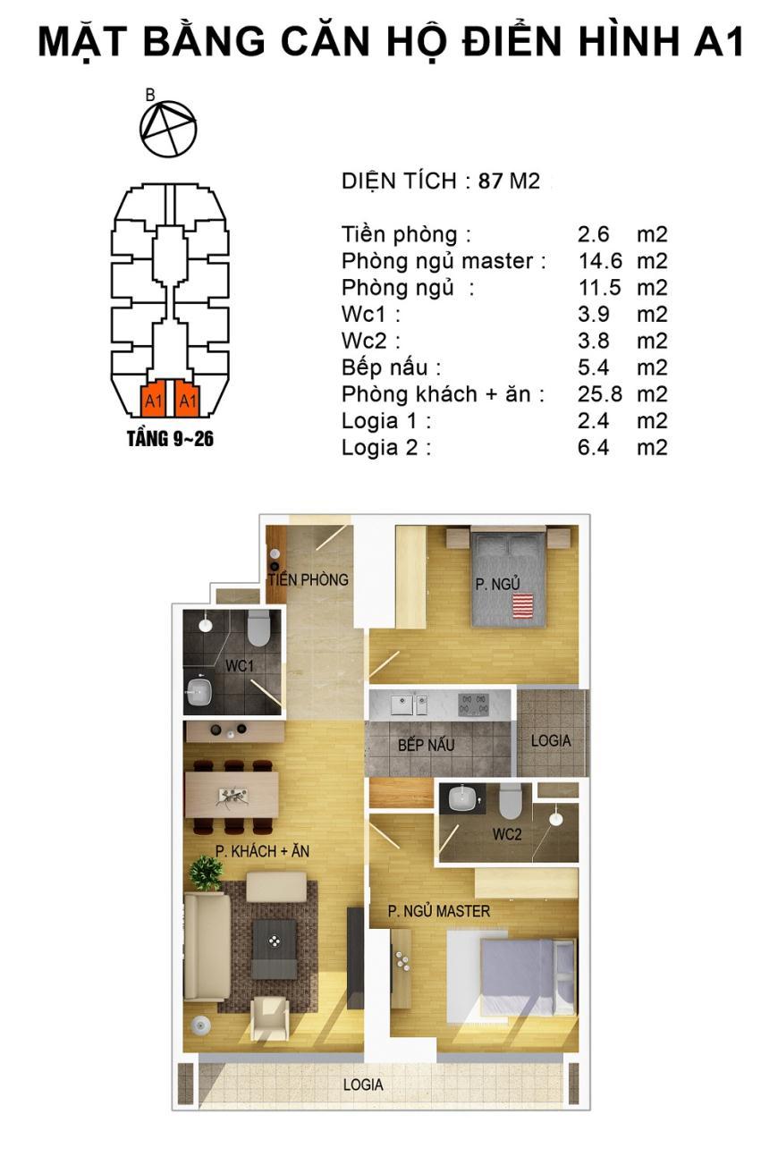 Mặt bằng căn hộ điển hình A1