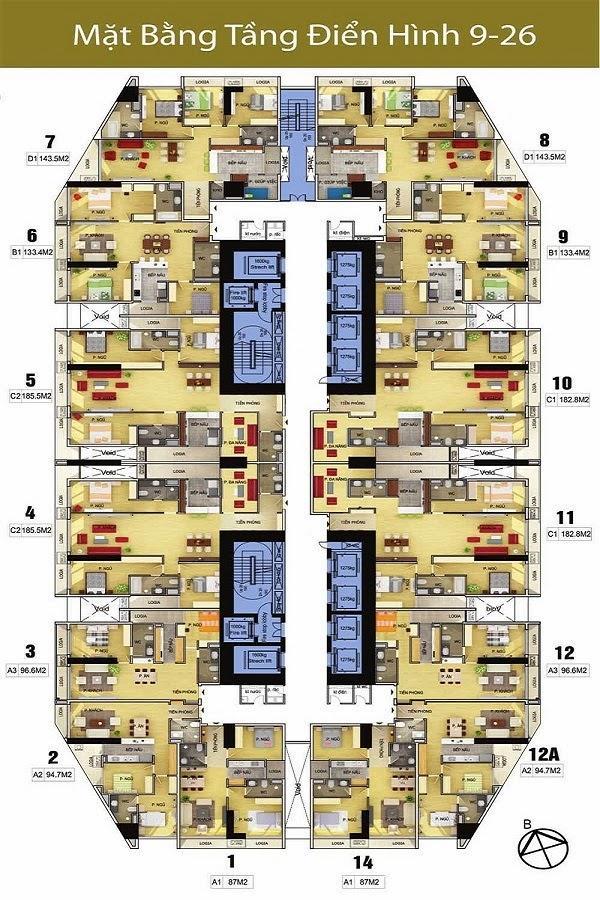 Mặt bằng tầng Điển Hình từ tầng 9-26