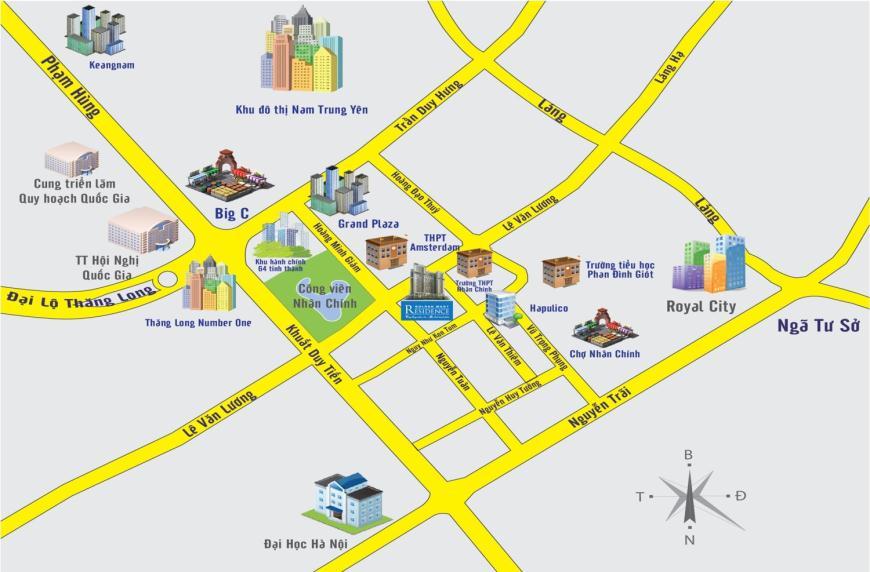 Sơ đồ vị trí chung cư Golden West: Số 1 Lê Văn Thiêm, Quận Thanh Xuân, Hà Nội