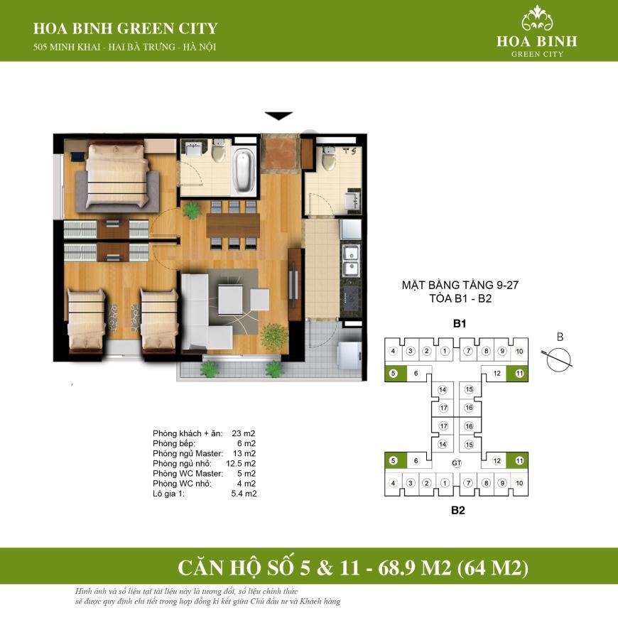 Chi tiết căn góc 68.9m2 Tòa B Hòa Bình Green City