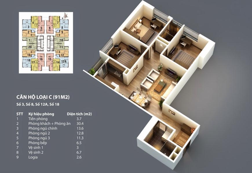Sơ đồ chi tiết căn hộ C - 91m2