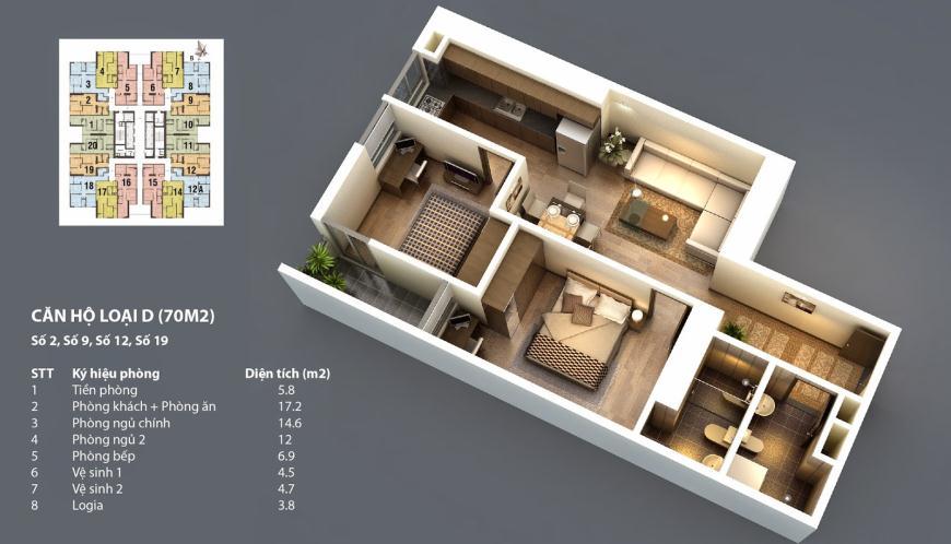 Sơ đồ chi tiết căn hộ D - 70m2