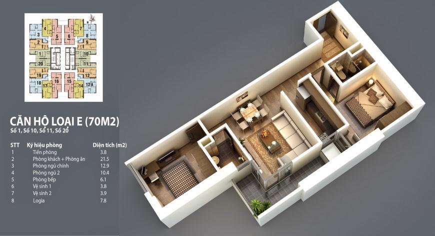 Sơ đồ chi tiết căn hộ E - 70m2