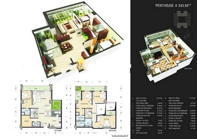 Sơ đồ chi tiết căn hộ PentHouse A