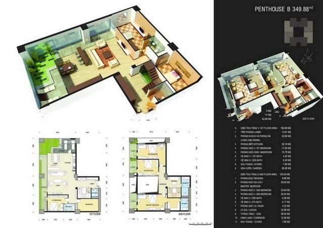 Sơ đồ chi tiết căn hộ PentHouse B