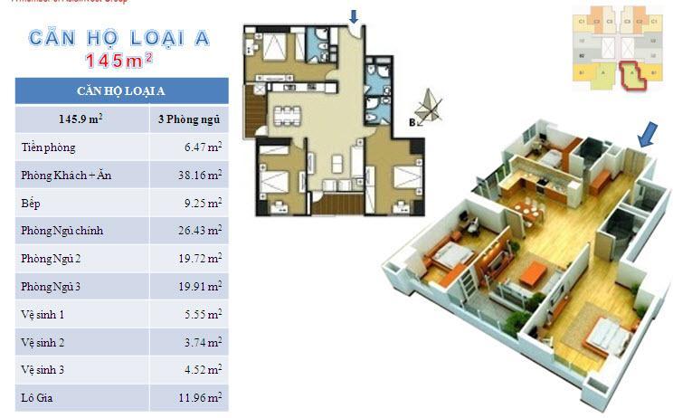 Sơ đồ chi tiết căn hộ loại A - 145m2