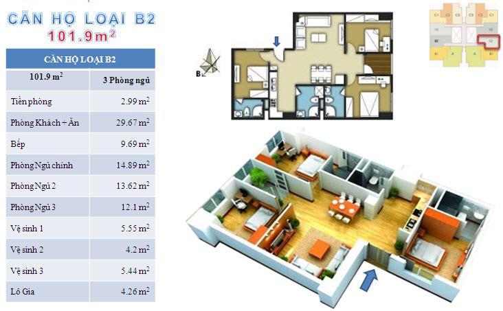 Sơ đồ chi tiết căn hộ loại B2 - 101.9m2