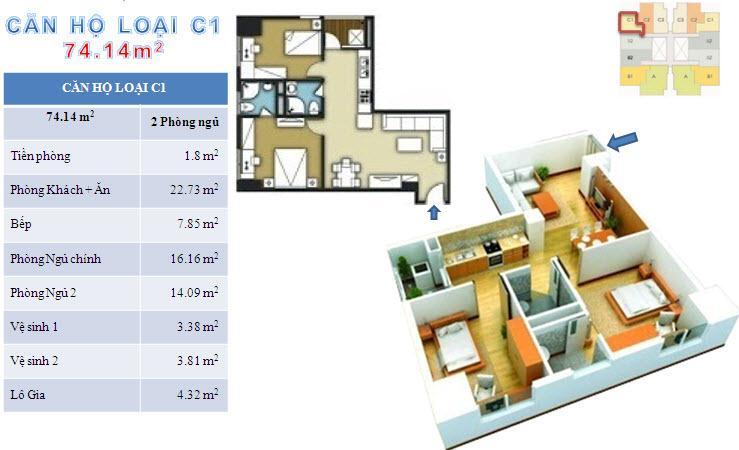 Sơ đồ chi tiết căn hộ loại C1 - 74.14m2