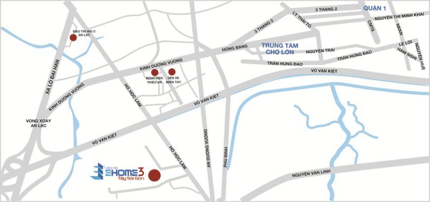 Vị trí dự án căn hộ EHome 3 Tây Sài Gòn