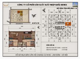 Mặt bằng chi tiết căn hộ số 08 diện tích 65.52 m2