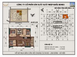 Mặt bằng chi tiết căn hộ số 12 diện tích 76.27 m2