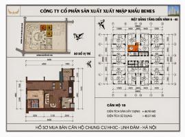 Mặt bằng chi tiết căn hộ số 18 diện tích 44.95m2