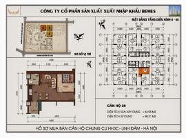 Mặt bằng chi tiết căn hộ số 38 diện tích 44.95 m2