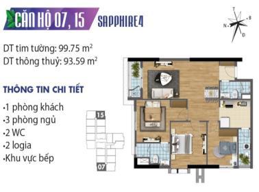 Căn hộ số 07 tòa Sapphire 4 dự án Goldmark city