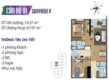 Căn hộ số 01 tòa Sapphire 4 dự án Goldmark city