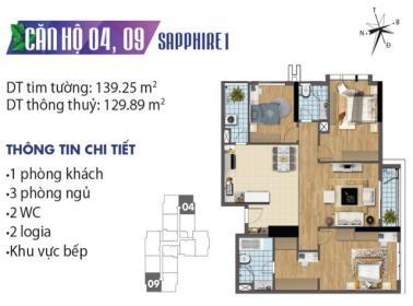 Căn hộ số 9 tòa Sapphire 1 dự án Goldmark city