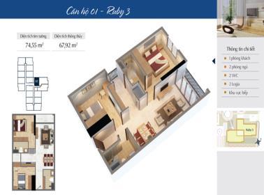 Căn hộ số 10 tòa Ruby 3 dự án Goldmark city