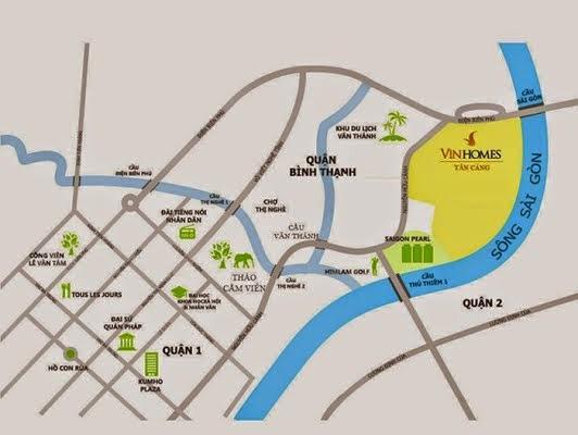 Vị trí dự án VinHomes Central Park - VinHomes Tân Cảng