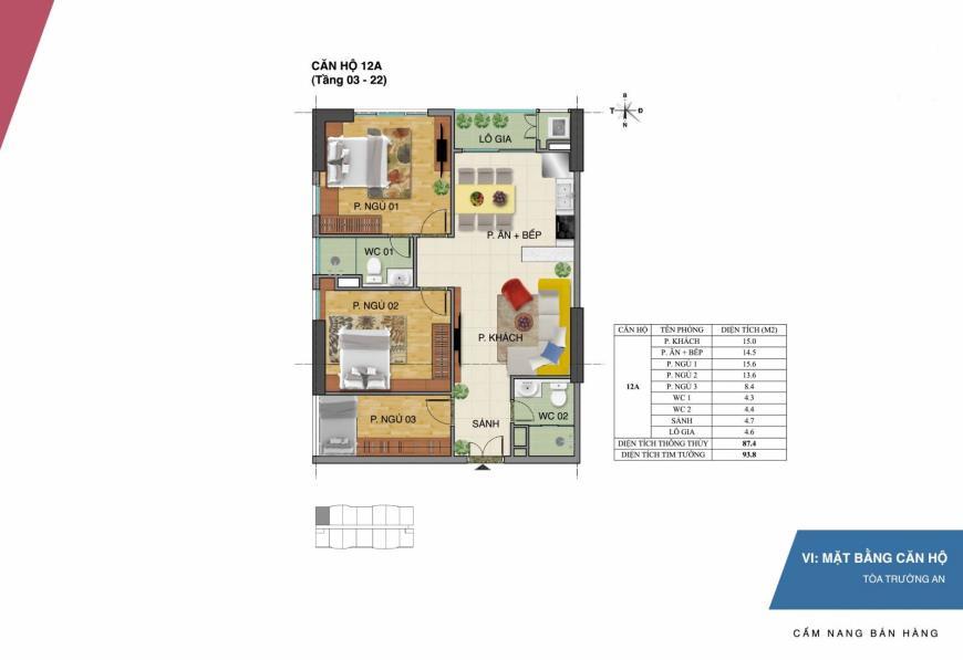 Mặt bằng căn hộ 12A dự án Tràng An Complex