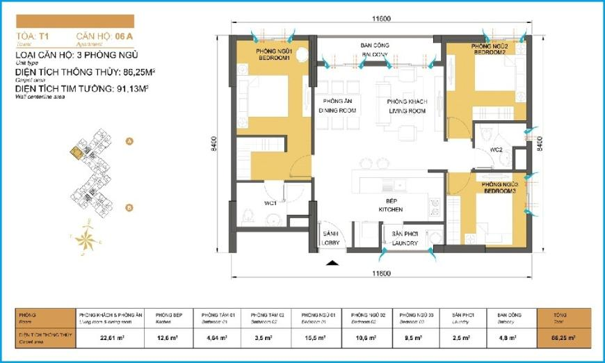 A06 Tòa 1 tầng 7 Masteri Thảo Điền
