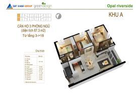 Bán căn 09 Tòa A2 tầng 16-18 tầng 16 Căn hộ Opal Riverside - Tầng: 16