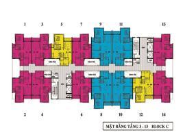 Mặt bằng tầng 3 - 13 Block C