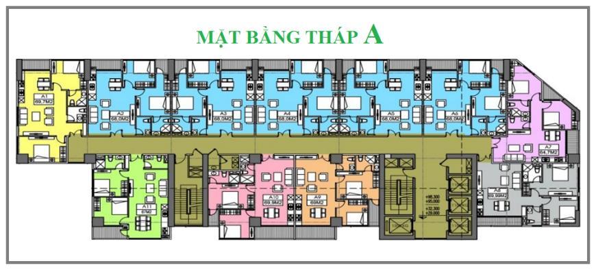 Mặt bằng tháp A dự án Chung cư MBland 219 Trung Kính