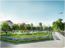 Vườn hoa, sân tenis trong khuôn viên KĐT chung cư